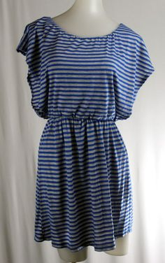 Issues COPPER KEY Small Gray Blue Striped Scoop Neck Dolman Sleeve Stretch Dress #CopperKey #StretchBodycon #Casual