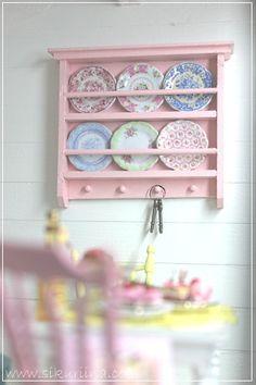 Pretty plate rack by Minna, plates by Carrie Lavender of Alavenderdilly Plate Racks, Rack Shelf, Dollhouse Furniture, Wall Shelves, China Cabinet, Dollhouse Miniatures, Storage, Interior, Home Decor