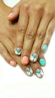 Aztec nails. Mint and coral nails. #PreciousPhanNails