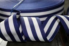 Navy and White Striped Ribbon 1.5  Woven 20  yards by tuteesribbon, $19.50