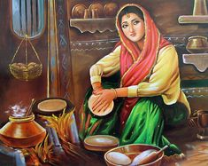 Traditional Punjabi food is one of the most distinct and popular Indian foods. The impressive thing about Punjabi food is its variety. Art Village, Indian Village, Village Girl, Bollywood Stars, Punjab Culture, Rajasthani Painting, Composition Painting, Punjabi Food, Punjabi Recipes