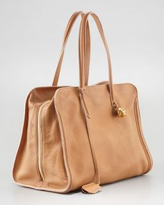 New Skull Padlock Zip-Around Tote Bag, Burnt Camel - Neiman Marcus