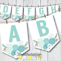Printable Blue Boho Flower Shower Banner -- Blue Floral Boho Chic Baby Shower, Wedding Shower, or Birthday Spearhead Bunting Banner -- PDF Watercolor Flowers Tutorial, Flower Tutorial, Shower Banners, Party Banners, Flower Shower, Little Girl Birthday, Printable Letters, Bunting Banner, Happy Birthday Banners