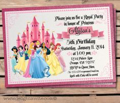 Disney princesses birthday party invitation free printable disney princess birthday invitation and custom envelope on etsy 249 filmwisefo Image collections