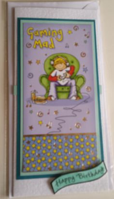 Gaming Mad DL card using the Hunkdory topper on a DL linen feel card - Happy Birthday but can have any message you want £2.50 inc p&p - insert has been designed by myself