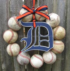 LSU Tigers (or childs team) Baseball in stead of those shown... Love Wreath with wooden Alphabeth of childs name for his or her door