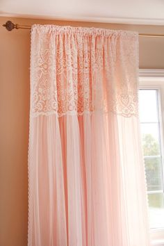 Items similar to Peach Apricot Pink White Ruffle Embroidery Lace Overlay Ruching Luxury Tulle Sheer Shabby Cottage French Paris Double Layer Curtain on Etsy Peach Curtains, Ruffle Curtains, Layered Curtains, Shabby Chic Curtains, Shabby Chic Bedrooms, Shabby Chic Homes, Valance Curtains, Cottage Curtains, Tulle Canopy