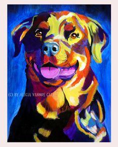 Colorful Pet Portrait Rottweiler Dog  Etsy.