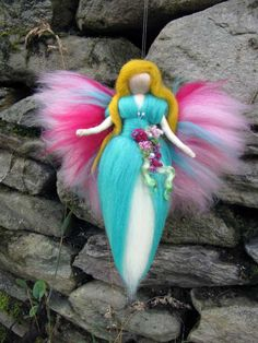 AMANDA Needle Felted Wool fairy with flowers and beads, Waldorf inspired fairy doll