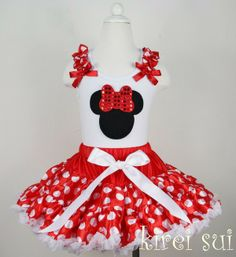 2 Pieces Set: Red White Polka Dots Pettiskirt / Tutu / Skirt & Minnie Mouse Head White Tank Top-in Clothing Sets from Apparel & Accessories ...
