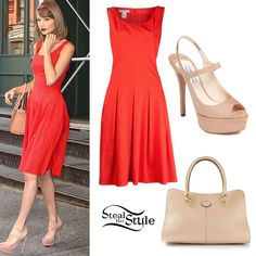 Taylor Swift: Red Dress, Open Toe Heels (I dunno, wearing a de la Renta to the gym seems like a bit much) Taylor Swift Costume, Taylor Swift Outfits, Taylor Swift Style, Taylor Momsen, Taylor Swift Pictures, Her Style, Style Icons, Going Out, Cool Outfits