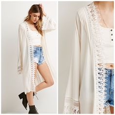 Crochet panel cardigan Beautiful and romantic cream color longline cardigan with crochet trim. Gauze lightweight material. 100% rayon exclusive of cotton trim. Hand wash. Fits medium to large as runs slightly bigger. no trades Forever 21 Sweaters Cardigans