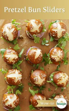 Change up your ordinary sliders by using mini-pretzel buns and Boursin cheese, a great compliment to ground beef.