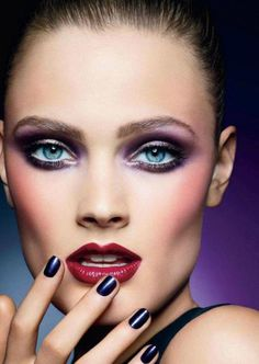 Glamorous Berry colors Makeup  Elle - September 2012 Canada