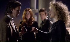 The Doctor weds RiverSong.....  PS- The mother-in-law and father-in-law of the Doctor are also there (Amy and Rory)