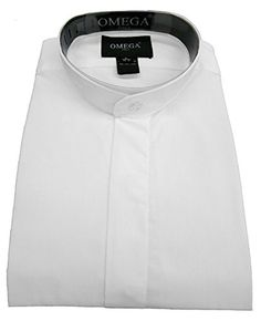 dab632a2681883 OmegaTux Men s Banded Collar(mandarin Collar) White Dress Shirt