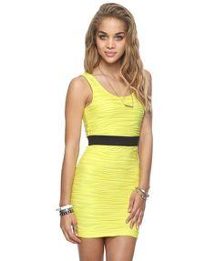 Pintucked Neon Dress