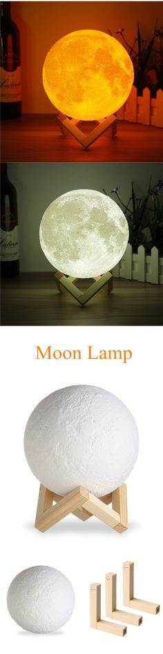 Magical Two Tone Moon Lamp USB Charging Luna LED Night Light Touch Sensor Gift is solid and can change color, light is getting more and more attention-NewChic. My New Room, My Room, Do It Yourself Design, Diy Lampe, Ideas Vintage, Led Night Light, Light Led, Light Touch, Diy And Crafts