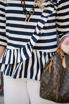 Ruffled Striped Top + White Corduroy Pants + Louis Vuitton | @bowsandsequins