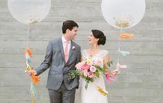 Dallas Bride and Groom Balloon Wedding Portrait at Trinity River Audubon Center