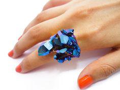 Titanium Cobalt Blue Crystal Druzy Ring Aura Quartz by AstralEYE, $70.00