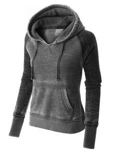 PREMIUM Womens Lightweight Fleece Burnout Thermal Pullover Hoodie ...