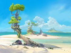 Fantasy Places, Fantasy World, Fantasy Art, Animation Background, Art Background, Fantasy Landscape, Landscape Art, Beach Landscape, Vegetal Concept