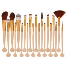 Shell Shape Ultra Soft Fiber Hair Makeup Brush Set - Gold And Pink - & Health, Makeup Tools & Accessories, Makeup Brushes # # Soft Makeup, Daily Makeup, Makeup Application, Makeup Brush Set, Shape Patterns, Makeup Tools, Fiber, Skin Care, Shapes