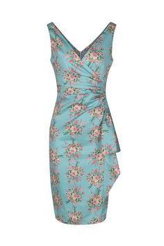 Turquoise Summer Floral Bodycon Wiggle Dress