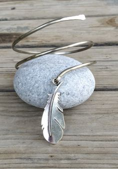 Silver Feather arm cuff feather arm bracelet upper by SPIRALICA