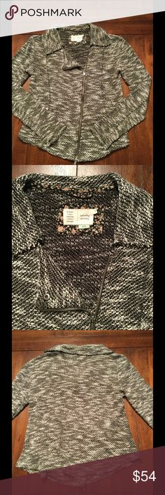 Anthropologie Moto Sweater Jacket Marled terry moto jacket by Saturday Sunday from Anthropologie. Size xs. Good preowned condition. No holes, rips, stains. Smoke free home. Anthropologie Sweaters