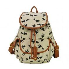 24187cbc358 Mochila de Lona Passarinhos Voando Satchel Backpack