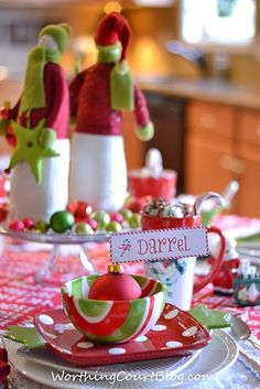 Whimsical Christmas tablescape