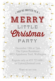 """A merry little christmas party"" printable invitation. Customize, add text and photos. print for free!"
