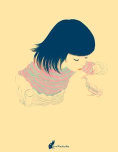 """""""Kato"""" by Nino Kvachadze- I love how the 'bubbles' are drawn."""