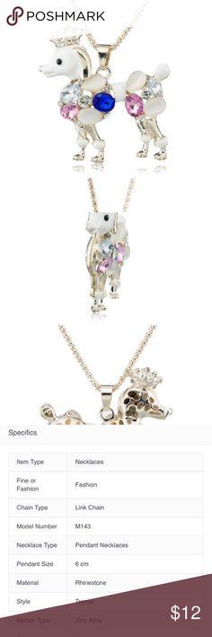 🦄Exquisite Poodle Long Chain Crystal Necklaces Exquisite Beautiful Poodle Dog  Long Chain Crystal Necklace& Pendant Jewelry Necklaces