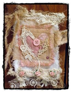 pink heart fiber mixed media piece.  This idea would make a great detail pocket for jumper or jacket.