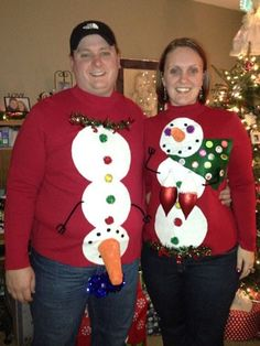 You'll get invited to at least one ugly Christmas sweater party in your life. Ahead, nine ugly holiday sweaters to make everyone at the party LOL. Couple Christmas, Tacky Christmas Party, Christmas Humor, Christmas Outfits, Christmas Ideas, Christmas Time, Christmas Tables, Xmas Party, Holiday Ideas