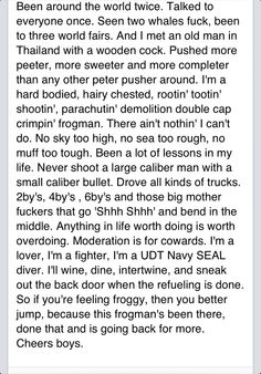 Lone survivor navy seal speech. Excuse the cuss words, but I love this.