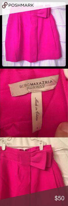 BCBG Max Azria Runway 🎀Hot Pink Mini Skirt🎀 LIKE NEW BCBG Runway Hot Pink mini skirt with bow with side pockets and zipped in back. BCBGMaxAzria Skirts