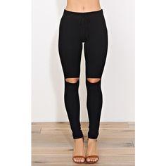 Knee Rip Leggings ($20) ❤ liked on Polyvore featuring pants, leggings, black, tie-dye leggings, elastic waist pants, tie pants, cut-out leggings and lightweight leggings