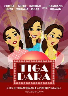 This is Cartoon Retro version, #disneystyles  Re-design poster #tigadara untuk #carrotacademy  #filmindonesia #jadul #film_indonesia #indonesia_movie #vintagestyle #musical #movieposter #karyamasbambi #retro #50s #vintage #usmarismail