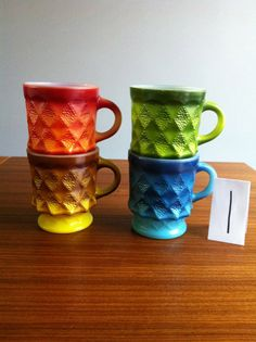 Fire King Kimberly coffee mugs The Rainbow by PolargirlVintage, $26.99 Buy 2 or more sets and get a discount!