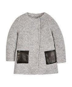 Chunky Knit  PU Trim Long-line Cardigan