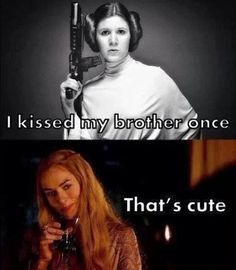Star Wars v Game of Thrones - funny! Princess Leia and Cersei Lannister
