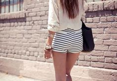 hot little striped short shorts Beautiful Outfits, Cute Outfits, Summer Outfits, Fashion Outfits, Womens Fashion, Fashion Trends, Sexy Shorts, Short Shorts, Mini Shorts