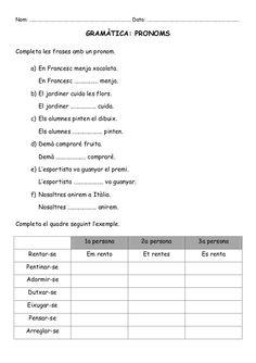 exercicis pronoms personals primaria - Cerca amb Google Valencia, Homework, Google, Printables, Atelier, Reading