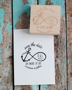 "Custom Save the Date Wedding Rubber Stamp - Infinity Anchor with ""Love Anchors the Soul"" quote on Etsy, $31.26 CAD"