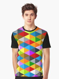 Modern bright funky colorful triangles pattern men's s graphic t-shirt apparel by #PLdesign #geometric #ColorfulTriangles #style #fashion @redbubble