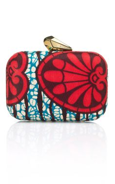 A Master Mix: Culture Club Morley African Fabric Minaudière in Blue/Red Multi